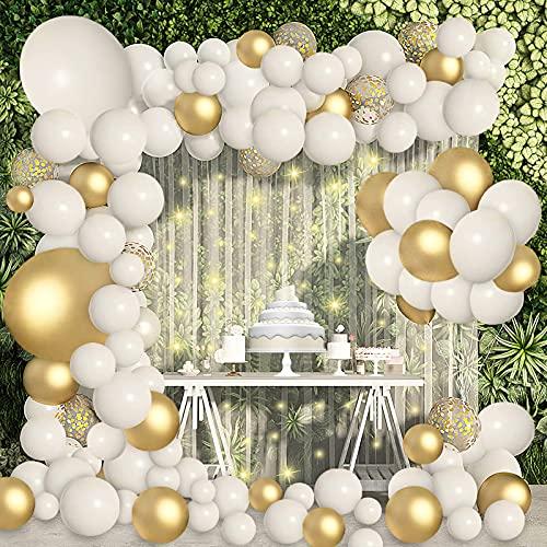 119 Pezzi Palloncini Kit Ghirlanda Bianchi e Oro Confetti Palloncini Lattice, Oro Palloncini Compleanno per Matrimonio, Anniversario, Battesimo Bambino, Decorazione Compleanno per Feste