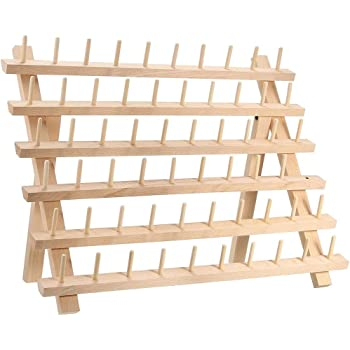 120 Spool Sewing Thread Rack Embroidery Cone Holder Organizer Wooden Folded NEW