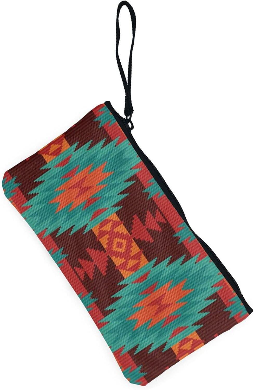 AORRUAM Geometric retro pattern Canvas Coin Purse,Canvas Zipper Pencil Cases,Canvas Change Purse Pouch Mini Wallet Coin Bag