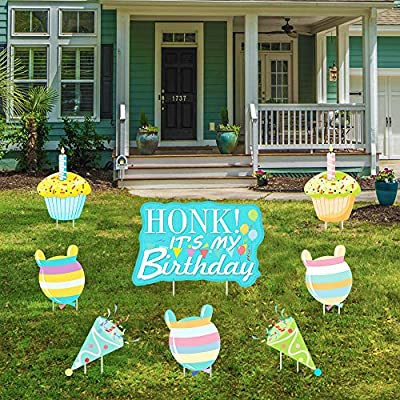 Wironlst Honk! It's My Birthday Party Yard Sign, Cupcake and Balloons Outdoor Party Decoration Happy Birthday Lawn Signs with Stakes for Boys, Girls, Kids or Adults, 8 Packs