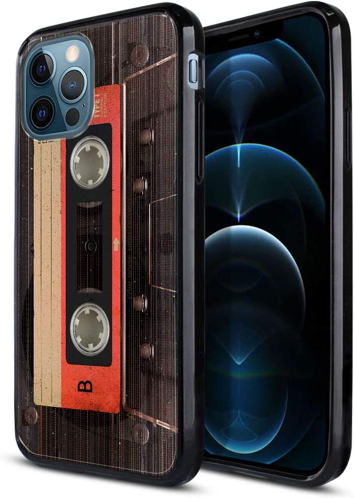 FINCIBO Slim Shock Absorbing TPU Bumper, Clear Hard Protective Case Cover Compatible with Apple iPhone 12 Pro Max 6.7 inch 2020 - Red Vintage Cassette Tape