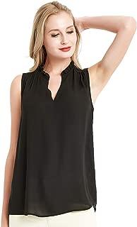Summer Sleeveless Tank Tops for Women Chiffon Ruffled V Neck Blouse Shirt
