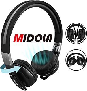 MIDOLA Bluetooth Headphones Wireless Wired On-Ear Foldable Portable Durable Adjustable Lightweight, with Soft Earmuffs, TF Card Slot, 3.5mm AUX Jack, Built-in Mic for Cellphone Tablet
