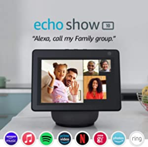 Echo Show 10 (3rd generation)   HD smart display with motion and Alexa, Charcoal Fabric
