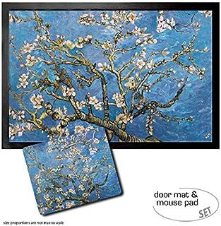 1art1 Vincent Van Gogh, Almendro En Flor, 1890 Felpudo Alfombra (60x40 cm) + Alfombrilla para Ratón (23x19 cm) Set Regalo