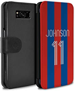 Personalized Custom Soccer Club Jersey Shirt Kit PU Leather Case for Samsung Galaxy S8/G950 / Red Blue Stripes Design/Initial/Name/Text DIY Wallet/Cover