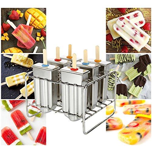 6 x Edelstahl Eisformen Eis Pop Macher Eis Am Stiel Formen Stieleis-Form mit mit Stick Holder und Tasse Pinsel Popsicle Formen Set für hausgemachtes Eis am Stiel