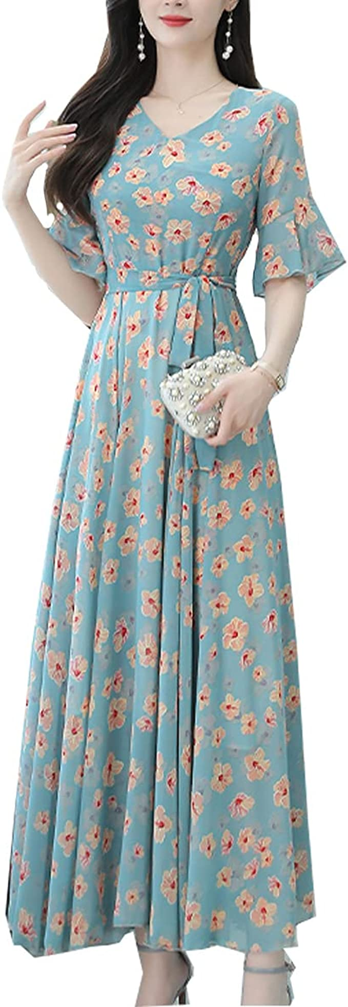 Ilovgirl Maxi Kleider Fur Frauen Blau Floral Print Sommer Party Hochzeit Urlaub Abend Lange Kleid Amazon De Bekleidung