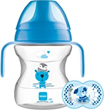 MAM Learn to Drink Cup and Soother, 6 Months, 190 ml (Blue)
