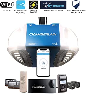 Chamberlain Group Chamberlain B980 Smartphone-Controlled Ultra-Quiet and Strong Belt Drive Garage Door Opener Ultimate Security Bundle with Battery Backup, Blue