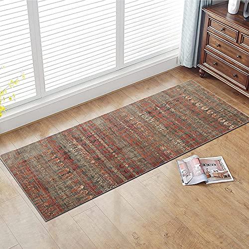 Teppich Läufer Flur rutschfest Waschbarer Teppichlaeufer Küchenteppich Vintage Rot 50X200cm Modernes Teppiche für Korridor Schlafzimmer Küche