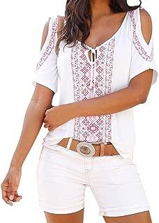 Boho Open Shoulder Tops Women Bohemian Short Sleeve Shirt Sequin Blouse