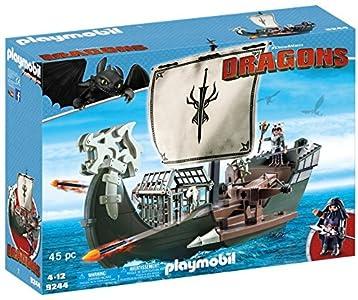 Cómo entrenar a tu Dragón-Barco de Drago Vehículos de Juguete, Color marrón, Verde, Gris, 51,5 x 14,2 x 38,5 cm Playmobil 9244