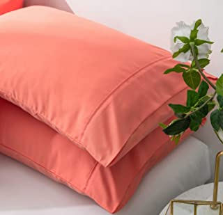 AYASW Pillowcases Queen Size Microfiber 2 Piece Set Envelope Closure Coral 20x30 inches