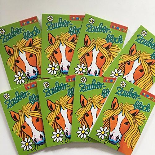 8 ZAUBERBLÖCKCHEN * Pferde * im Set mit je 24 Seiten in DIN A8 von Lutz Mauder // Plus 4 Buntstifte // Mitgebsel Kindergeburtstag Malbuch Pony