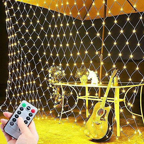 Cadena de luces LED de malla, impermeable, 3 x 2 m, luces decorativas de 200 luces LED de Navidad, color blanco cálido, con temporizador remoto, conectable para bodas, Navidad, hogar, fiesta de verano