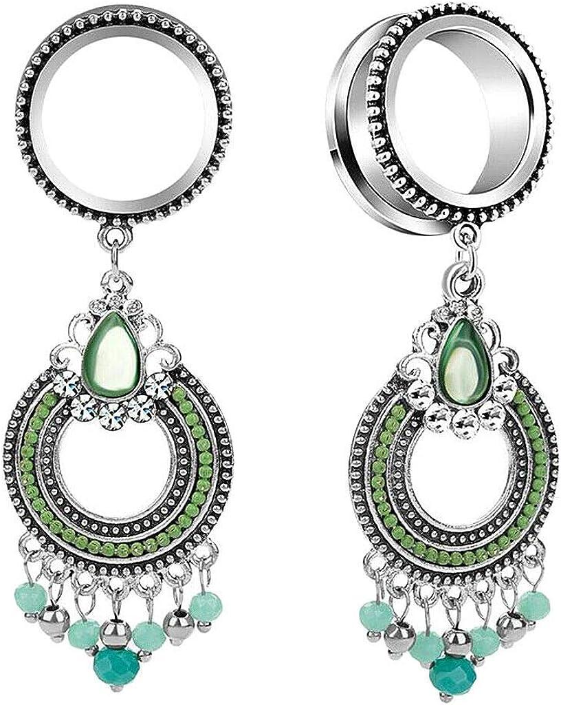 UkrGoods Tibetan Beads Tassel Statement Dangle Stud Earrings Gauge Piercing 6mm-16mm - Size: 16mm