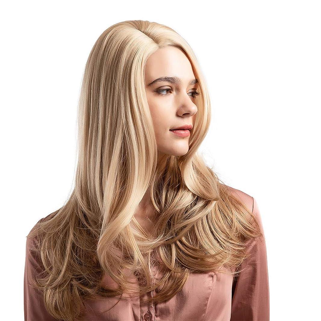 光沢運ぶ確立しますウィッグ女性黄金の大きな波状の巻き毛の高温シルクウィッグ22インチ
