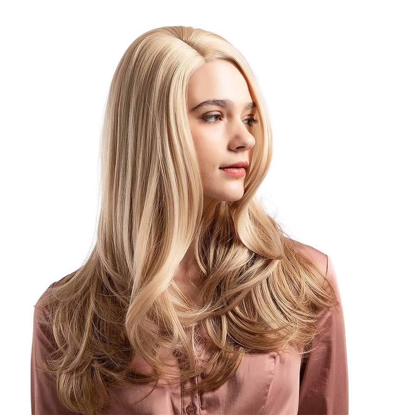 空虚流暢正しくウィッグ女性黄金の大きな波状の巻き毛の高温シルクウィッグ22インチ