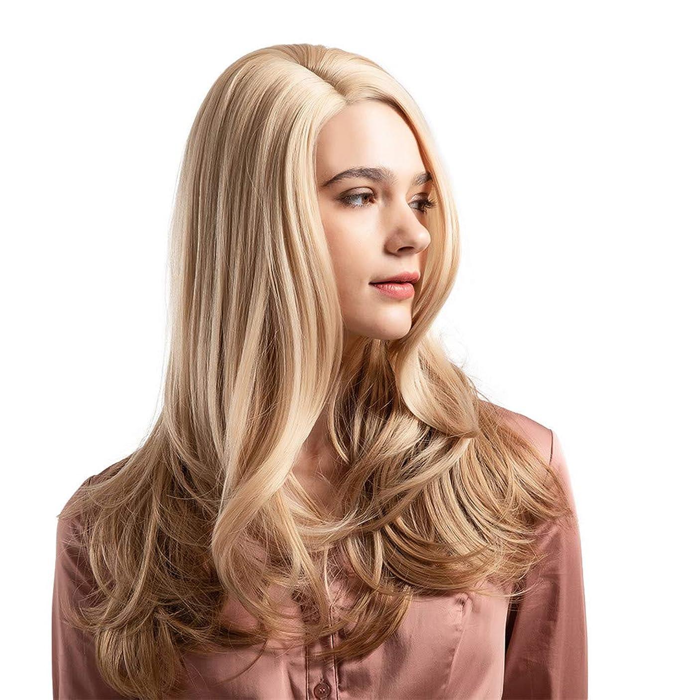 のためインゲン緩むウィッグ女性黄金の大きな波状の巻き毛の高温シルクウィッグ22インチ
