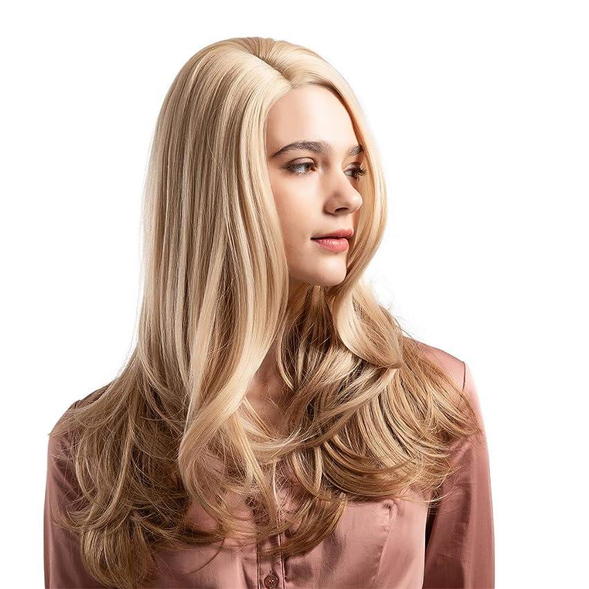 シャンプー場所たっぷりウィッグ女性黄金の大きな波状の巻き毛の高温シルクウィッグ22インチ