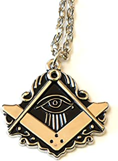 All Seeing Eye Square & Compass Silver Masonic Necklace - 2