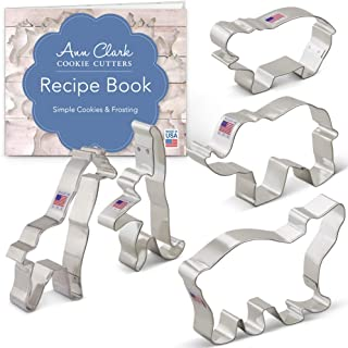 Ann Clark Cookie Cutters 5-Piece Zoo Animals Cookie Cutter Set with Recipe Booklet, Extra Large Elephant, Giraffe, Hippo, ...