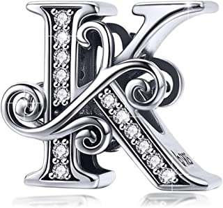 BAMOER 925 Sterling Silver Initial Letter A-Z Charms for Snake Chain Bracelet Necklace..