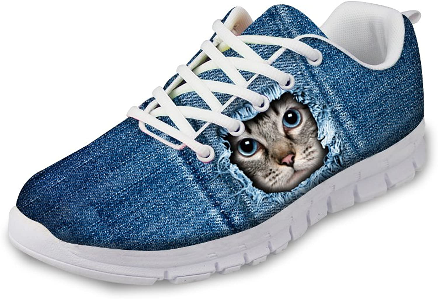 Cute 3d Denim Cat Pattern Durable Women's Girls Sneakers Lightweight Breathable Running shoes