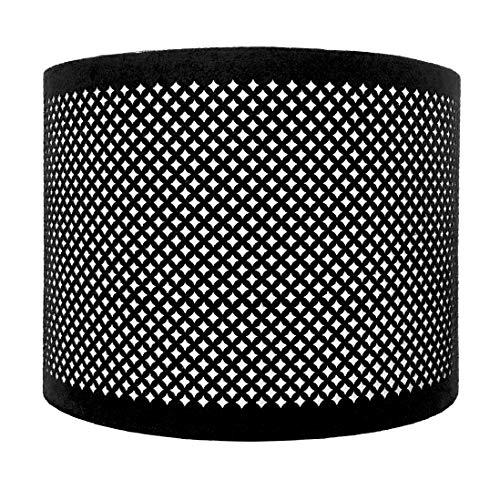 Royal Designs Do It Yourself Lampenschirm aus Kunstleder, Schablonen-Design, Trommelform, Hardcover, 40,6 x 40,6 x 26,7 cm, Schwarz