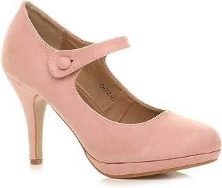 cf0d45c11f Ajvani Womens Ladies mid high Heel Mary Jane Evening Work Platform Bridal  Party Prom Court Shoes