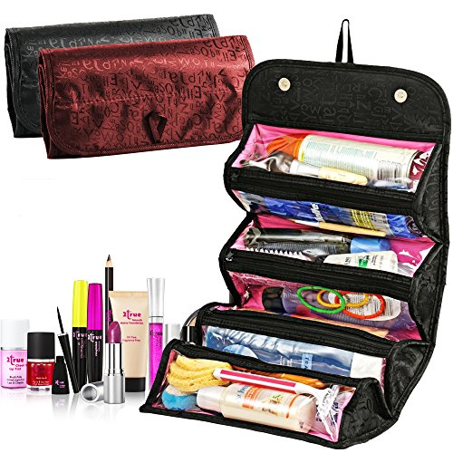 Travel Makeup Train Case Travelmall Makeup Cosmetic Case Organizer Portable Artist Storage Bag with Adjustable Dividers for Cosmetics Makeup Brushes Toiletry Jewelry Digital accessories (Black)