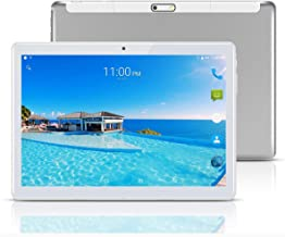 YELLYOUTH Android Tablet 10 inch with Sim Card Slots 2.5D Curved Glass Touch Screen 4GB RAM 64GB ROM Octa Core 3G Unlocked GSM Phone Tablet PC Compatible with WiFi Bluetooth GPS (Silver)