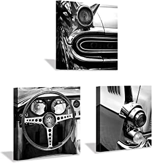 Car Engines Canvas Wall Art: Black & White Steering Wheel Rear Lamp Painting Picture Print on Canvas for Men (12'' x 12'' x 3 Panels)