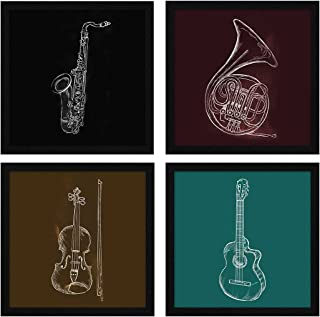 ArtX Paper Musical Instruments Music Wall Art Framed Paintings, 21 X 21 inches(Combined), 10.5 X 10.5 each, Abstract, Mult...
