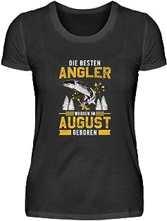 """Camiseta de manga corta para mujer con texto en alemán """"Angel-n Fisch-en"""""""