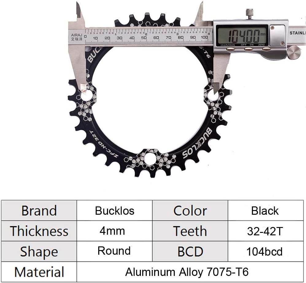 170mm MTB Square Taper Crankset with Plating Chainring Multicolor BUCKLOS 【US Stock】 104 BCD Mountain Bike Single Speed Crankset Replacement for Bicycle Crank Arm Set 30//32//34//36//38T
