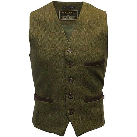 Walker & Hawkes - Mens Tweed Waistcoat Formal Teflon Dress Gilet - Dark Sage - X-Small