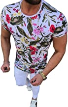 Pukemark Men's Summer Casual Slim Fit Short Sleeve Crew Neck Floral Graphic Hawaiian Tee T-Shirt Tops