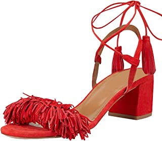 Womens Open Toe Ankle Ties Chunky Heel Fringed Suede Sandals Dress Causal Shoes