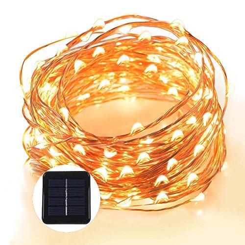 Grefine 100 LED Solare Fata Luci Stellato Corda Luci, 40 Ft/ 12 METRI Dentro Fuori Impermeabile Rame Luci Wire Lighting Ambiance per all'aperto, Giardini, Case, di Danza, Party di Natale (Bianca)