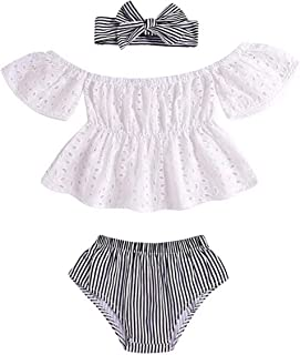SUPEYA Summer Baby Girls Floral Tops Plaid Print Long Skirt with Headband 3Pcs Set