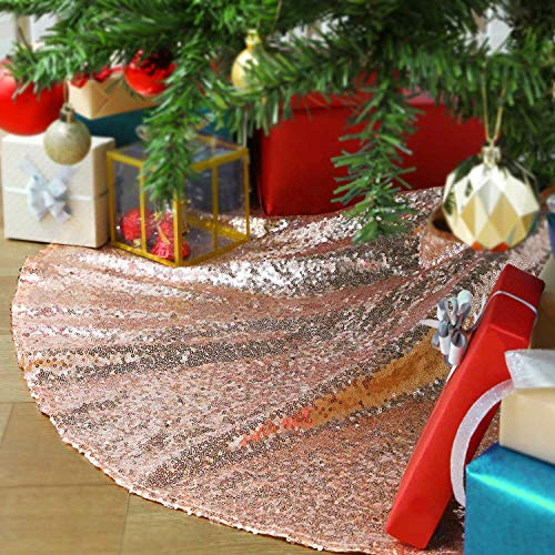 QueenDream Glitter Tree Skirt 24 Inch Rose Gold Sequin Christmas Tree Skirt Embroidery Mats for Merry Christmas Party Christmas Tree Decoration