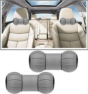 Vheelocityin Dumbbell Round Car Neck Cushion Pillow for Maruti Suzuki Alto 800 (Grey, Pack of 2)