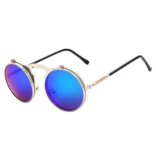 e0a4de1627de MaxAike 1 Gothic Steampunk Vintage Flip Up Round Metal Frame Sunglasses  Goggles (Silver& Green)