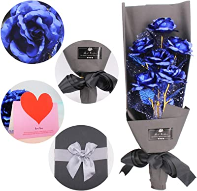 24k Gold Rose Artificial Forever Rose Bouquet, Eternal Love Rose for Lover Girlfriend on Valentine's Mother's Day Birthday Wedding Thanksgiving, Marriage Proposal Gift with Luxury Gift Box - Blue