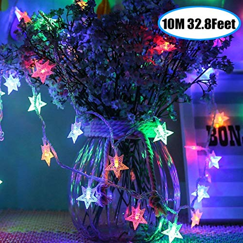 Star String Light, Battery Powered 80 Multi-Color Twinkle LED Indoor and Outdoor Decoration Ideal for Kids Room Bedroom Wall Tent Wedding Fairy Birthday Holidays