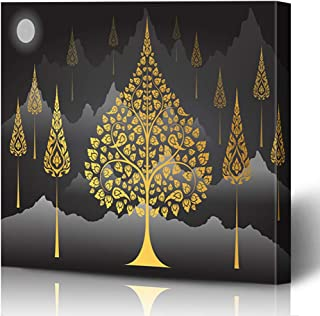 Ahawoso Canvas Prints Wall Art Printing 16x12 Beautiful Bodhi Tree Thai Tradition On Mountain Abstract Leaf Blooming Blossom Blossoming Day Dots Painting Artwork Home Living Room Office Bedroom Dorm