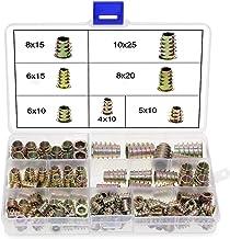 Houten draadinzetstukken, 100 STUKS zinklegering meubel zeskantschroeven, plug-in draadinzetstukken, notensorteergereedsch...