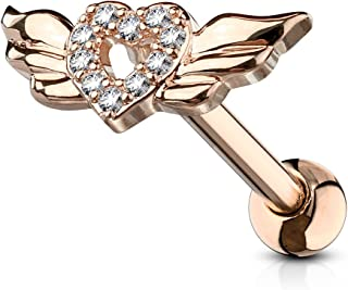 Amelia Fashion 16 Gauge CZ Paved Heart with Wings Tragus/Cartilage Earring Stud 316L Surgical Steel (Choose Color)